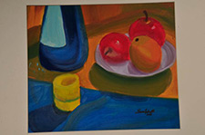Painting of fruit on a table