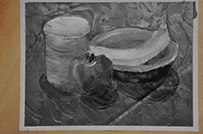 Black and White Painting of Fruit