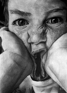 A hand drawn portait of a child making a silly face