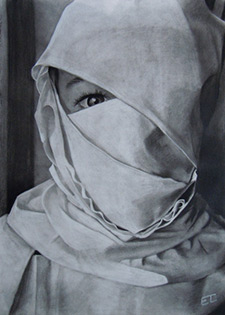 A hand drawn portrait of a girl covered in cloth