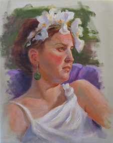 An oil painting of a woman with a flower crown