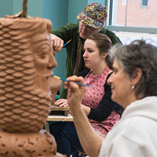 A picture of students sculpting