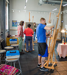 A picture of students in an art studio
