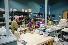 A picture of people in the clay studio