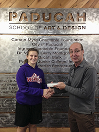 Rachel Harris reciving prize from Paul Aho