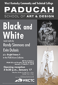black and white exhibit poster